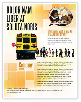School Bus Stop Flyer Template, 06967, Education & Training — PoweredTemplate.com
