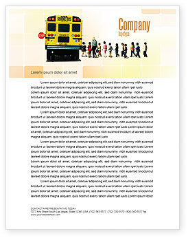 School Bus Stop Letterhead Template, 06967, Education & Training — PoweredTemplate.com