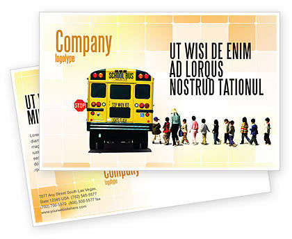 School Bus Stop Postcard Template, 06967, Education & Training — PoweredTemplate.com