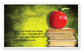 Education & Training: Apple and Books Business Card Template #06997