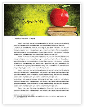 Education & Training: Apple and Books Letterhead Template #06997