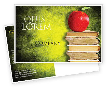 Education & Training: Plantilla de la postal - apple y libros #06997