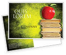 Education & Training: Apple and Books Postcard Template #06997