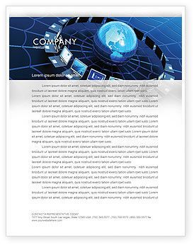 Technology, Science & Computers: Telecommunication Progress Letterhead Template #07033