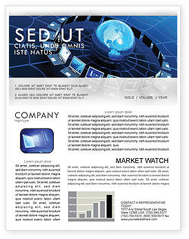 Technology, Science & Computers: Telecommunication Progress Newsletter Template #07033