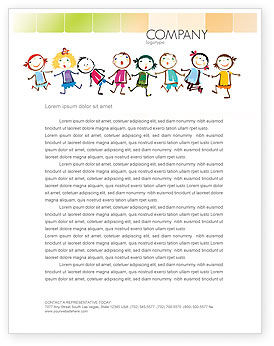 Education & Training: Modello Carta Intestata - Bambini divertenti #07045