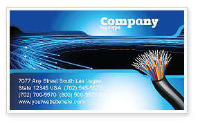 Technology, Science & Computers: Blue Optic Fibers Business Card Template #07052