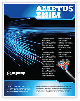 Blue Optic Fibers Flyer Template, 07052, Technology, Science & Computers — PoweredTemplate.com