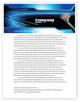 Technology, Science & Computers: Blue Optic Fibers Letterhead Template #07052