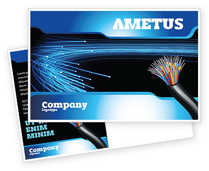Technology, Science & Computers: Blue Optic Fibers Postcard Template #07052