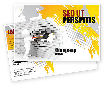 Business Concepts: Breaking the Wall Postcard Template #07058