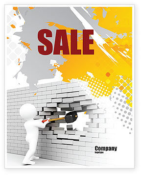 Business Concepts: Breaking the Wall Sale Poster Template #07058