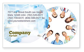 People: Medical Personnel Circle Business Card Template #07059
