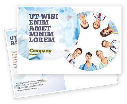 Medical Personnel Circle Postcard Template, 07059, People — PoweredTemplate.com