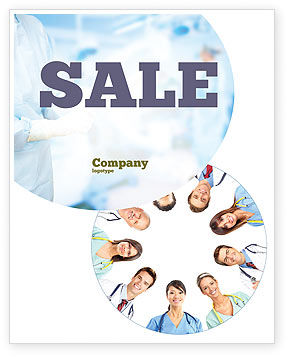Medical Personnel Circle Sale Poster Template, 07059, People — PoweredTemplate.com