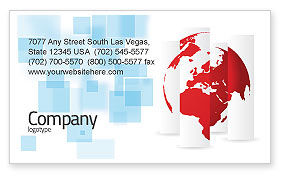 Global: Fragmented World Map Business Card Template #07090