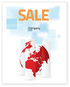 Global: Fragmented World Map Sale Poster Template #07090