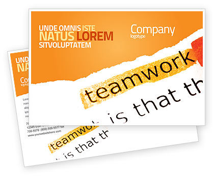 Education & Training: Teamwork Principles Postcard Template #07133