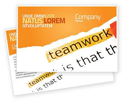 Teamwork Principles Postcard Template, 07133, Education & Training — PoweredTemplate.com