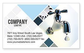 Nature & Environment: Water Tap Business Card Template #07138