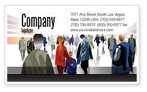 Crowded Place Business Card Template, 07162, People — PoweredTemplate.com
