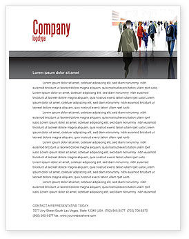 People: Crowded Place Letterhead Template #07162