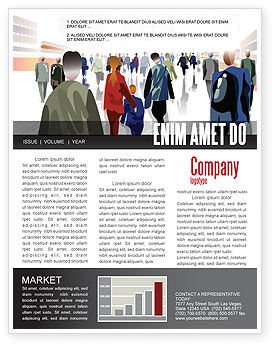 Crowded Place Newsletter Template, 07162, People — PoweredTemplate.com