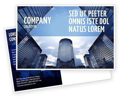 Construction: Business Center In Downtown Postcard Template #07208
