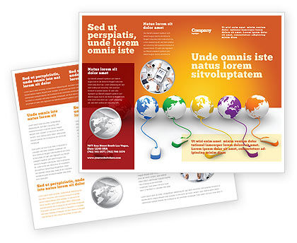 Connected to World Brochure Template, 07240, Technology, Science & Computers — PoweredTemplate.com