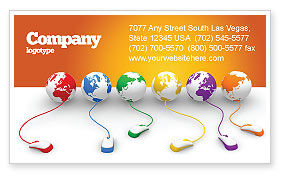 Connected to World Business Card Template, 07240, Technology, Science & Computers — PoweredTemplate.com