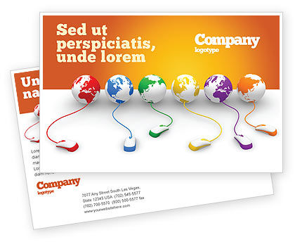 Connected to World Postcard Template, 07240, Technology, Science & Computers — PoweredTemplate.com