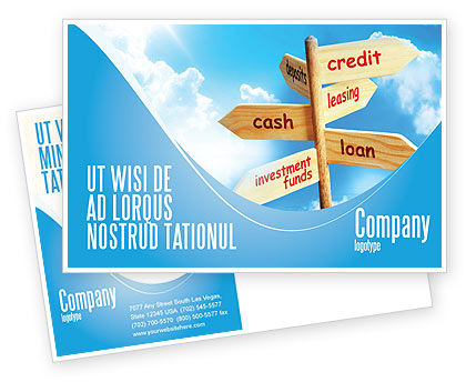 Credits and Loans Postcard Template, 07279, Financial/Accounting — PoweredTemplate.com