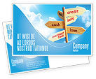 Financial/Accounting: Credits and Loans Postcard Template #07279