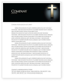 Religious/Spiritual: Plantilla de membrete - cruz en la oscuridad #07291
