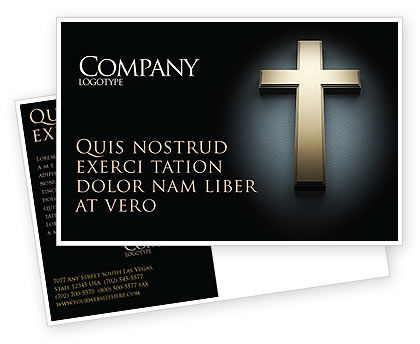 Cross In The Dark Postcard Template, 07291, Religious/Spiritual — PoweredTemplate.com