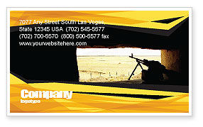 Machine Gun Business Card Template, 07308, Military — PoweredTemplate.com