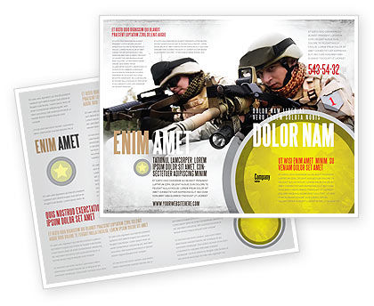Soldiers In Iraq Brochure Template, 07321, Military — PoweredTemplate.com