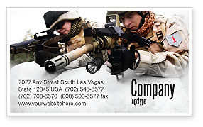 Military: Soldiers In Iraq Business Card Template #07321