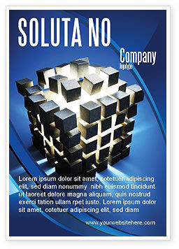 Cube Pieces Concept Ad Template, 07391, 3D — PoweredTemplate.com