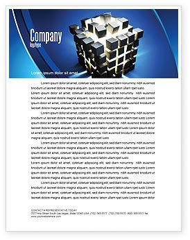 Cube Pieces Concept Letterhead Template, 07391, 3D — PoweredTemplate.com