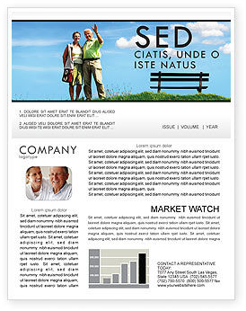 Old Couple Newsletter Template, 07405, People — PoweredTemplate.com