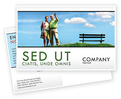 People: Old Couple Postcard Template #07405
