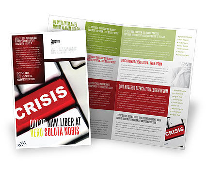 Crisis Button Brochure Template, 07410, Financial/Accounting — PoweredTemplate.com
