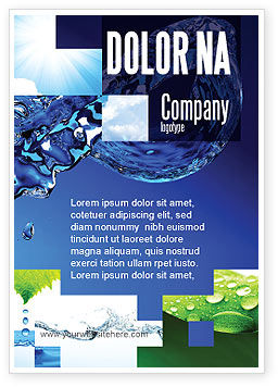 Blue Water Ad Template, 07546, Nature & Environment — PoweredTemplate.com