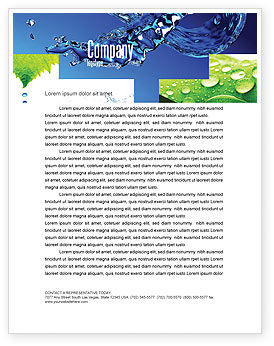 Blue Water Letterhead Template, 07546, Nature & Environment — PoweredTemplate.com