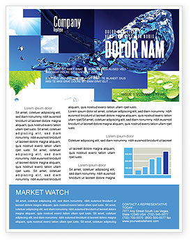 Blue Water Newsletter Template, 07546, Nature & Environment — PoweredTemplate.com