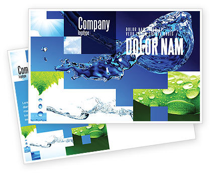 Nature & Environment: Blue Water Postcard Template #07546