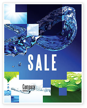 Nature & Environment: Blue Water Sale Poster Template #07546