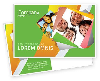 Students Team Postcard Template, 07551, Careers/Industry — PoweredTemplate.com
