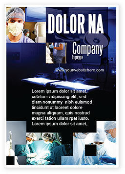 Medical: Operation Room In Dark Blue Ad Template #07560